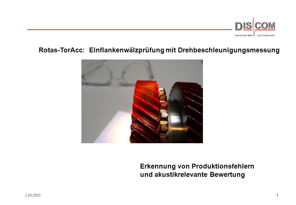 Rotas-TorAcc: Einflankenwälzprüfung mit Drehbeschleunigungsmessung
