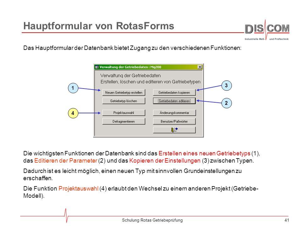 Hauptformular von RotasForms