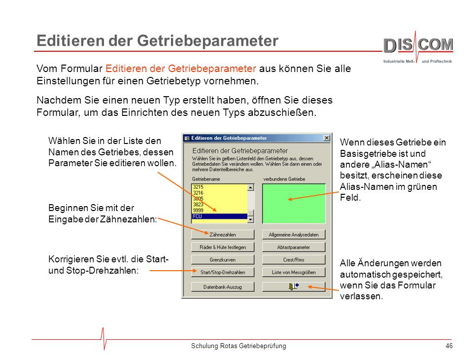 Editieren der Getriebeparameter
