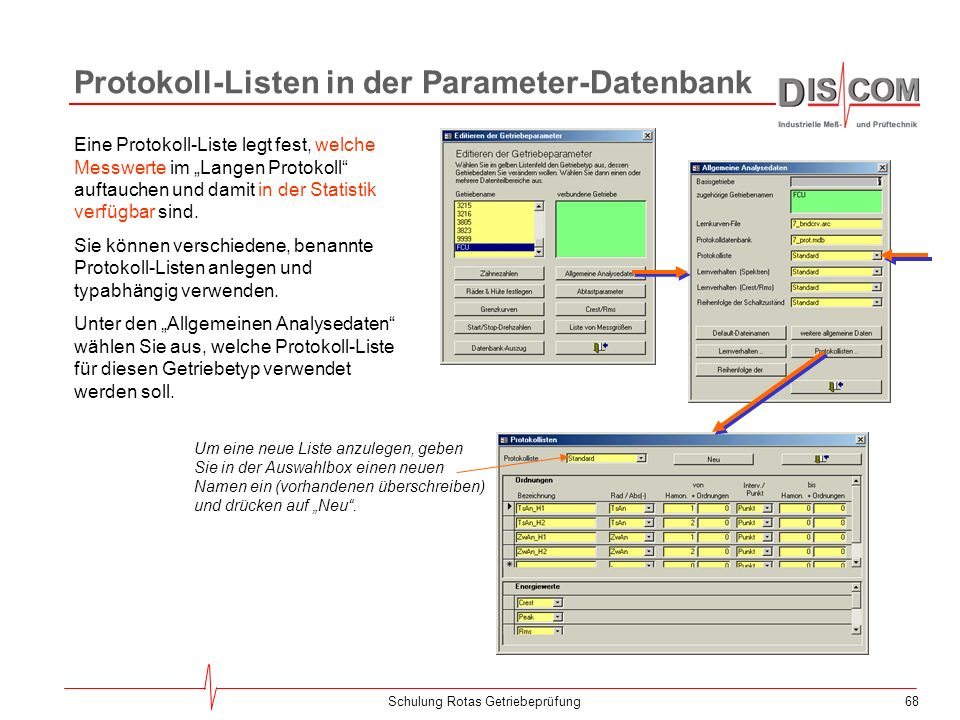 Protokoll-Listen in der Parameter-Datenbank