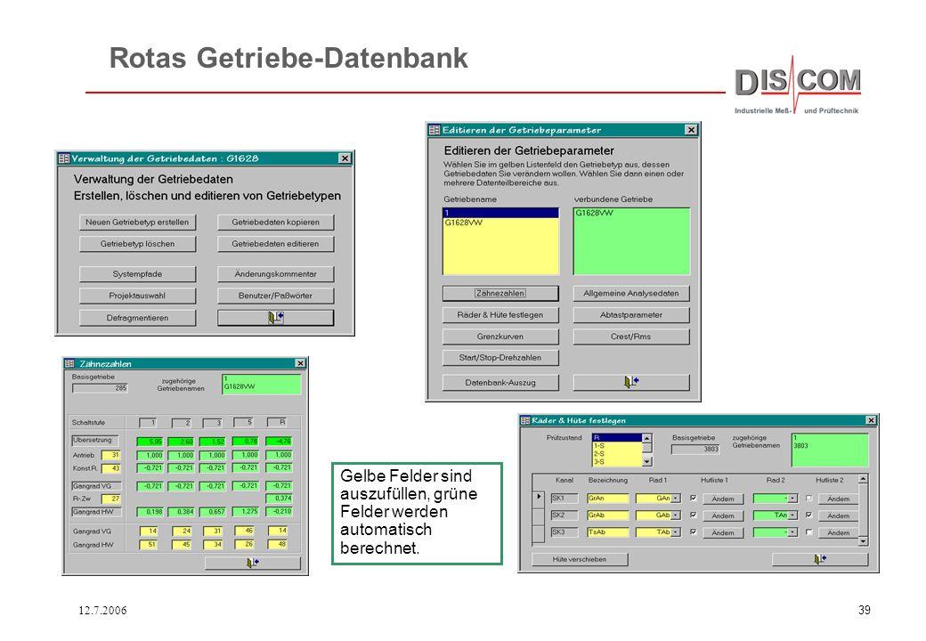 Rotas Getriebe-Datenbank