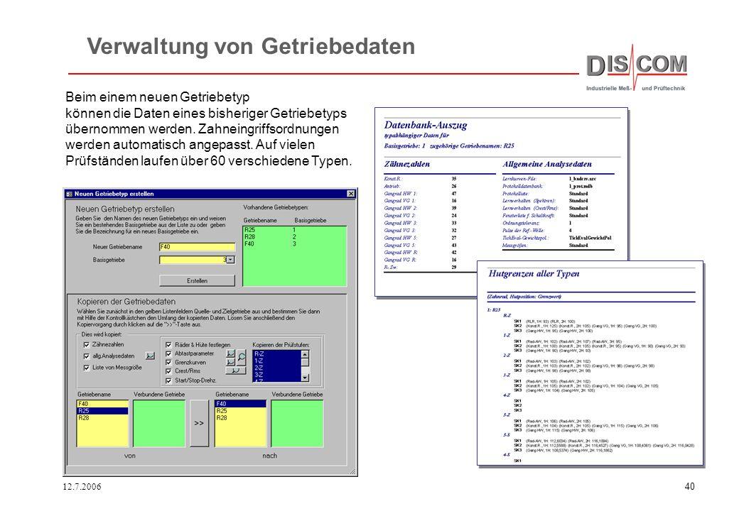 Verwaltung von Getriebedaten