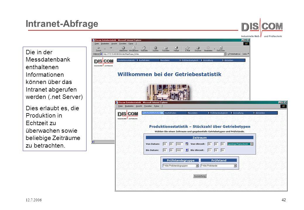 Intranet-Abfrage Die in der Messdatenbank enthaltenen Informationen können über das Intranet abgerufen werden (.net Server)