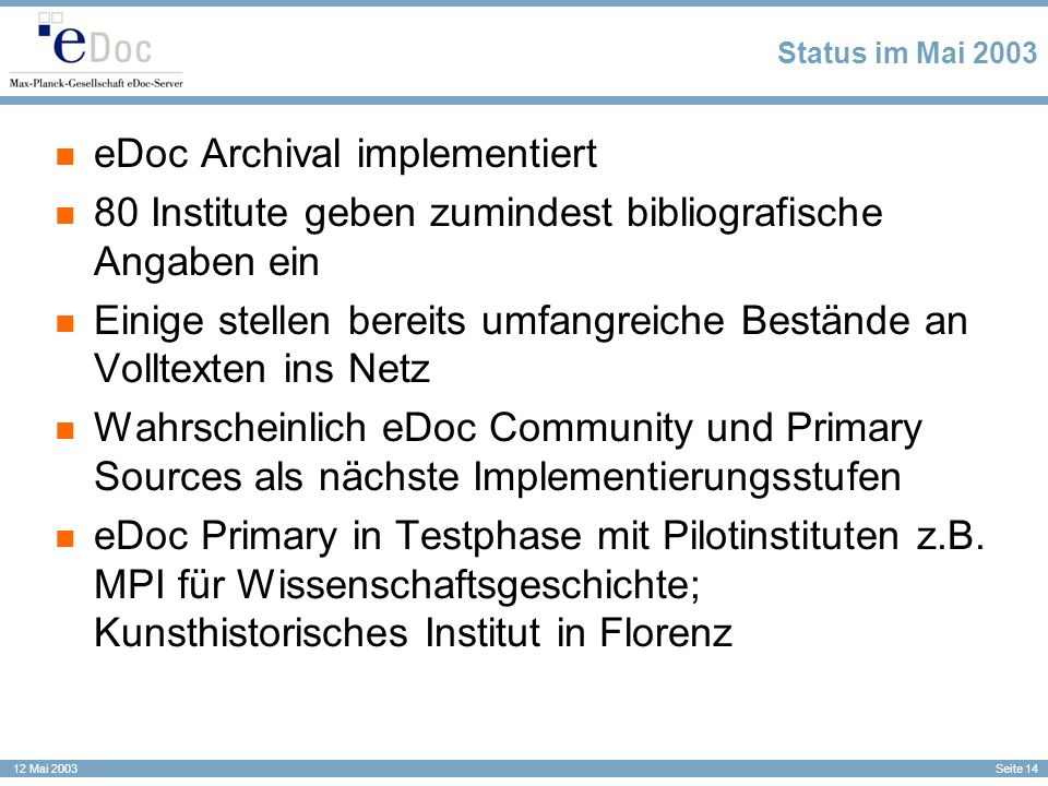 eDoc Archival implementiert