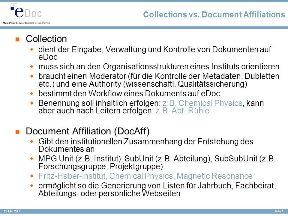 Collections vs. Document Affiliations