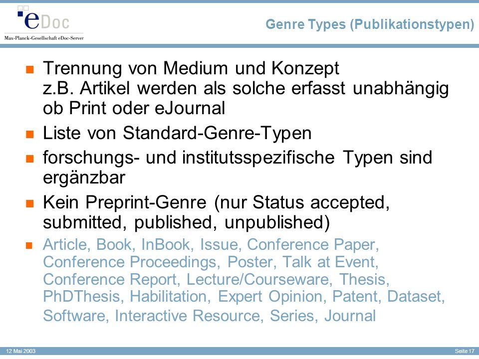 Genre Types (Publikationstypen)