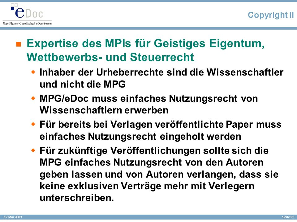 Copyright II Expertise des MPIs für Geistiges Eigentum, Wettbewerbs- und Steuerrecht.