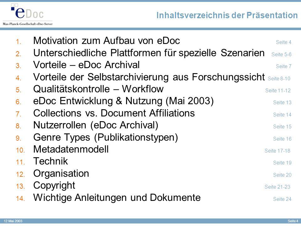 Inhaltsverzeichnis der Präsentation