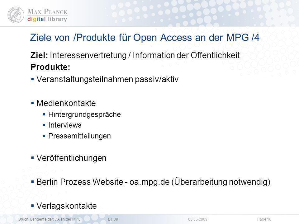 Ziele von /Produkte für Open Access an der MPG /4