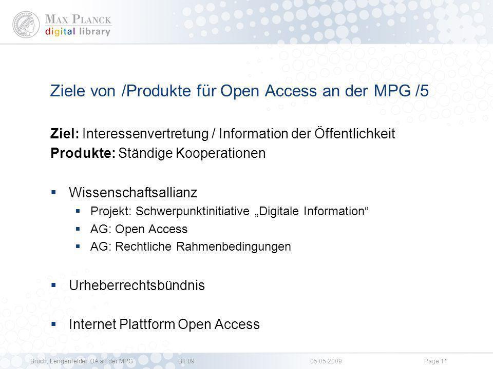 Ziele von /Produkte für Open Access an der MPG /5