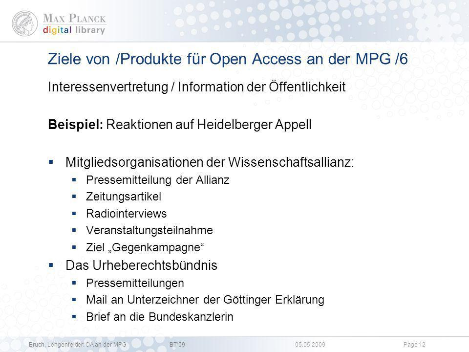 Ziele von /Produkte für Open Access an der MPG /6