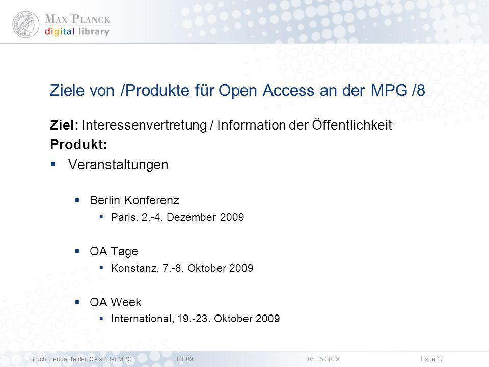 Ziele von /Produkte für Open Access an der MPG /8