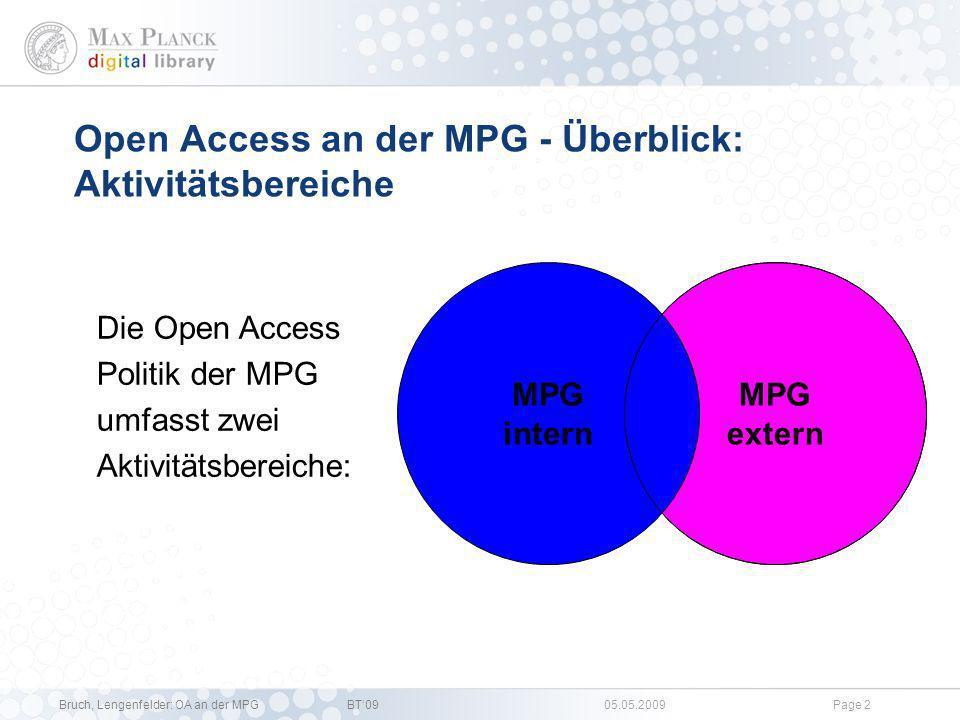 Open Access an der MPG - Überblick: Aktivitätsbereiche