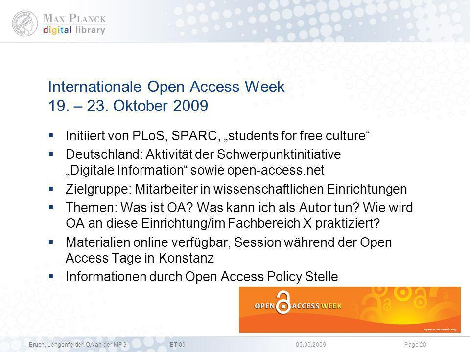 Internationale Open Access Week 19. – 23. Oktober 2009