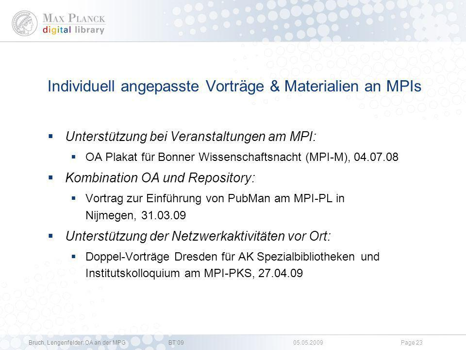 Individuell angepasste Vorträge & Materialien an MPIs
