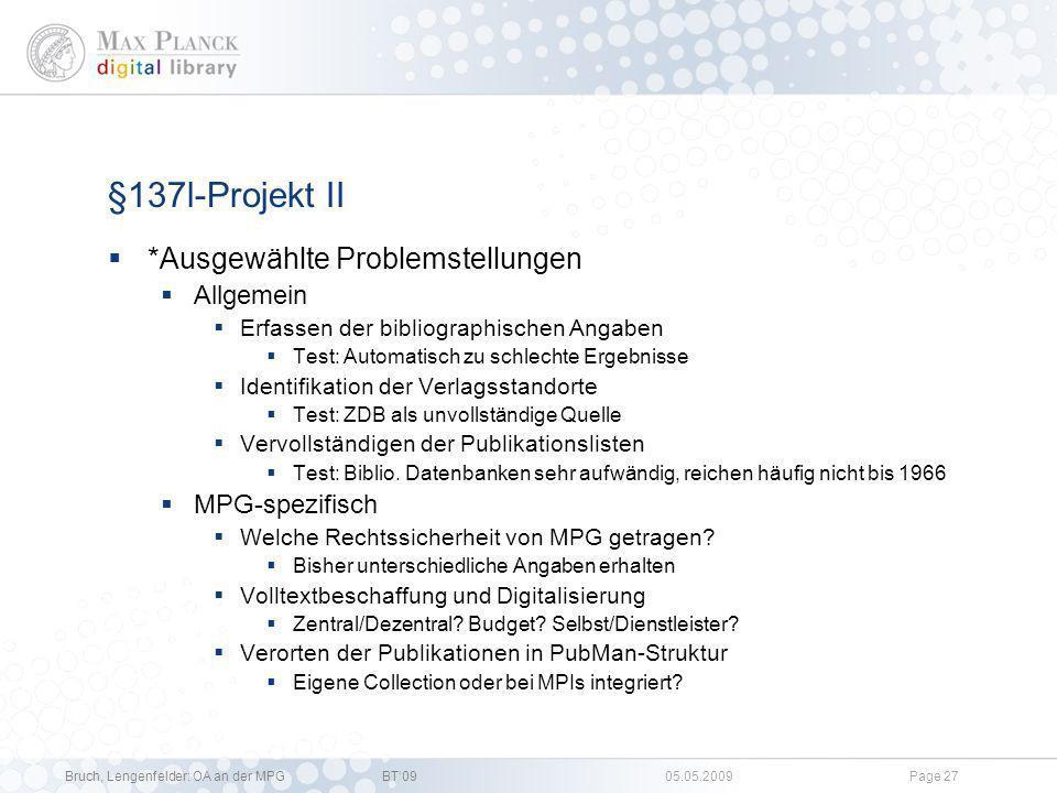 §137l-Projekt II *Ausgewählte Problemstellungen Allgemein