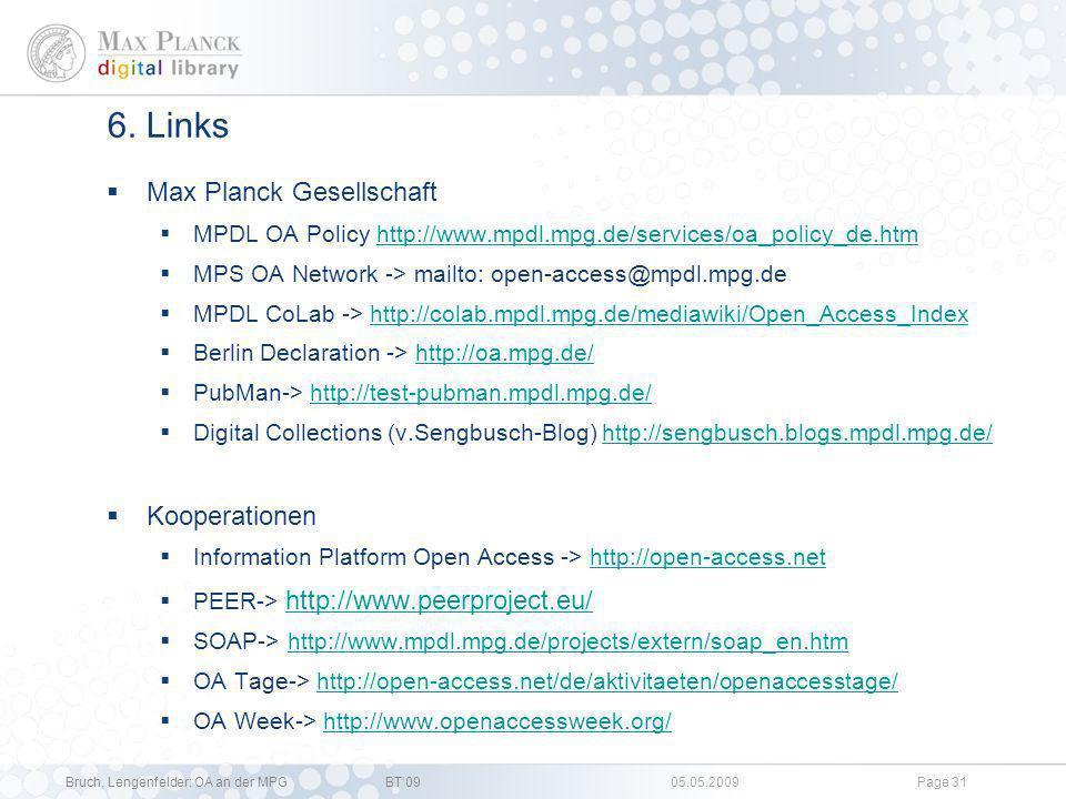 6. Links Max Planck Gesellschaft Kooperationen
