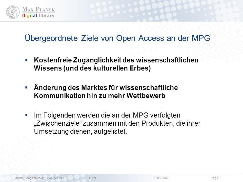 Übergeordnete Ziele von Open Access an der MPG
