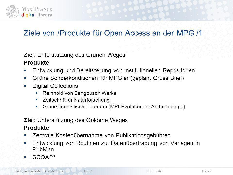Ziele von /Produkte für Open Access an der MPG /1