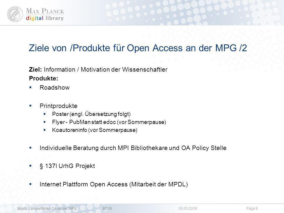 Ziele von /Produkte für Open Access an der MPG /2