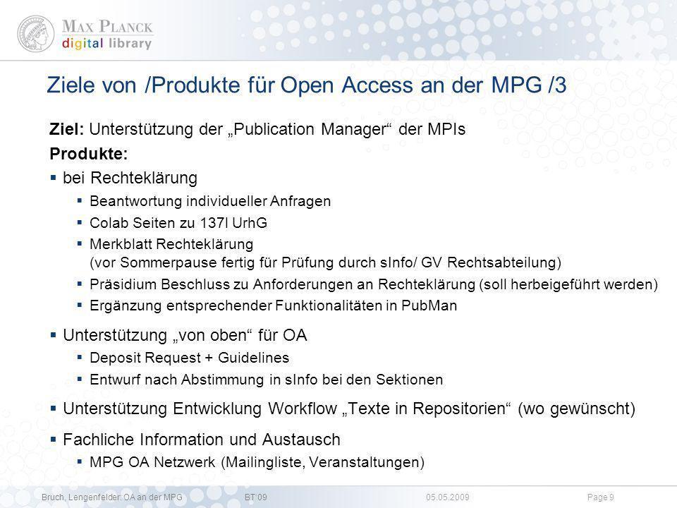 Ziele von /Produkte für Open Access an der MPG /3