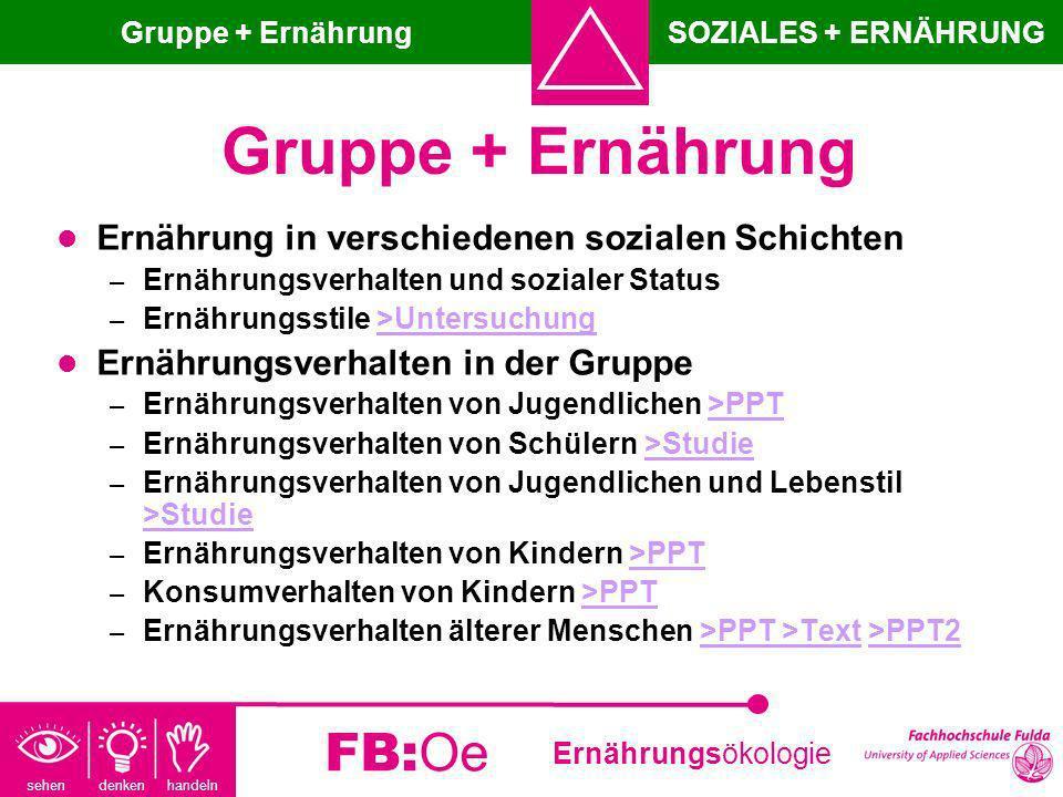 Gruppe + Ernährung FB:Oe Ernährung in verschiedenen sozialen Schichten