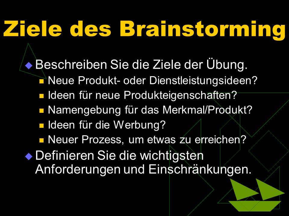 Ziele des Brainstorming