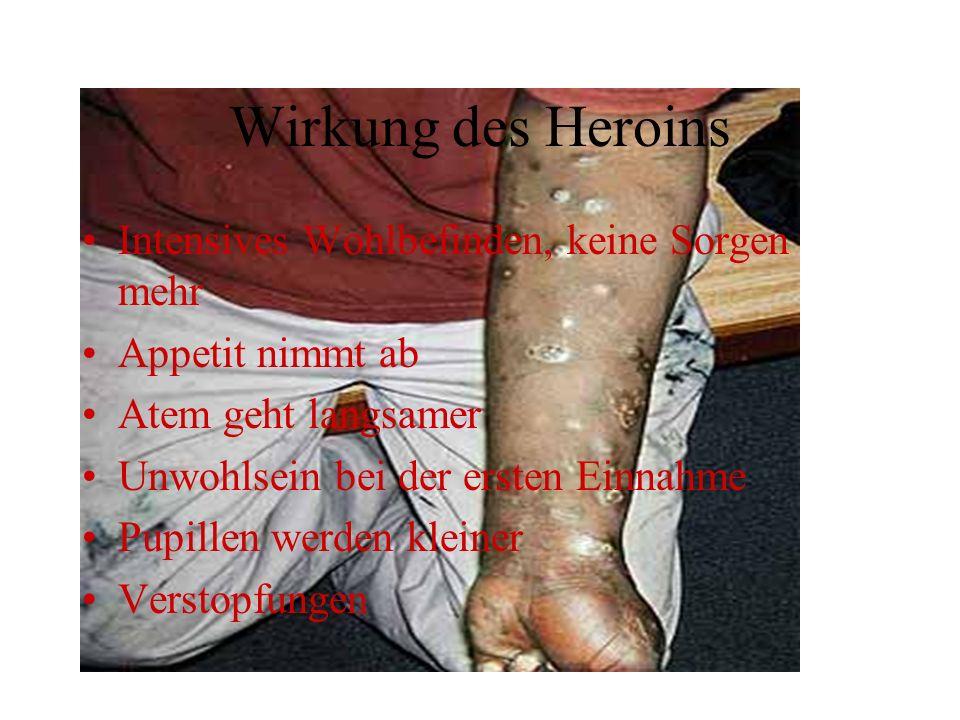 Wirkung des Heroins Intensives Wohlbefinden, keine Sorgen mehr