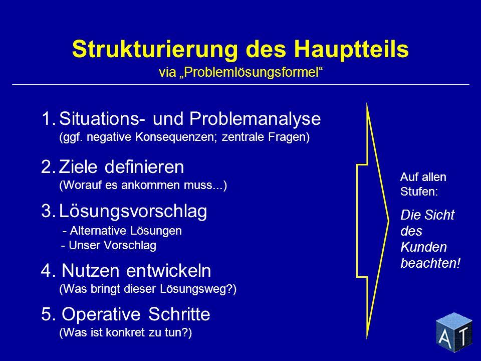 """Strukturierung des Hauptteils via """"Problemlösungsformel"""
