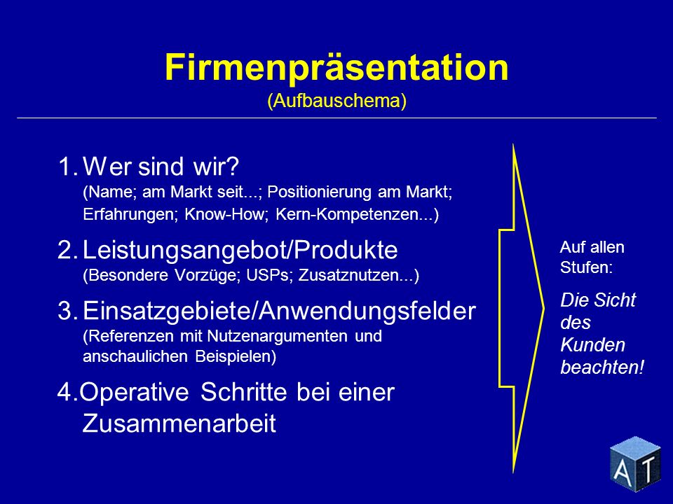 Firmenpräsentation (Aufbauschema)