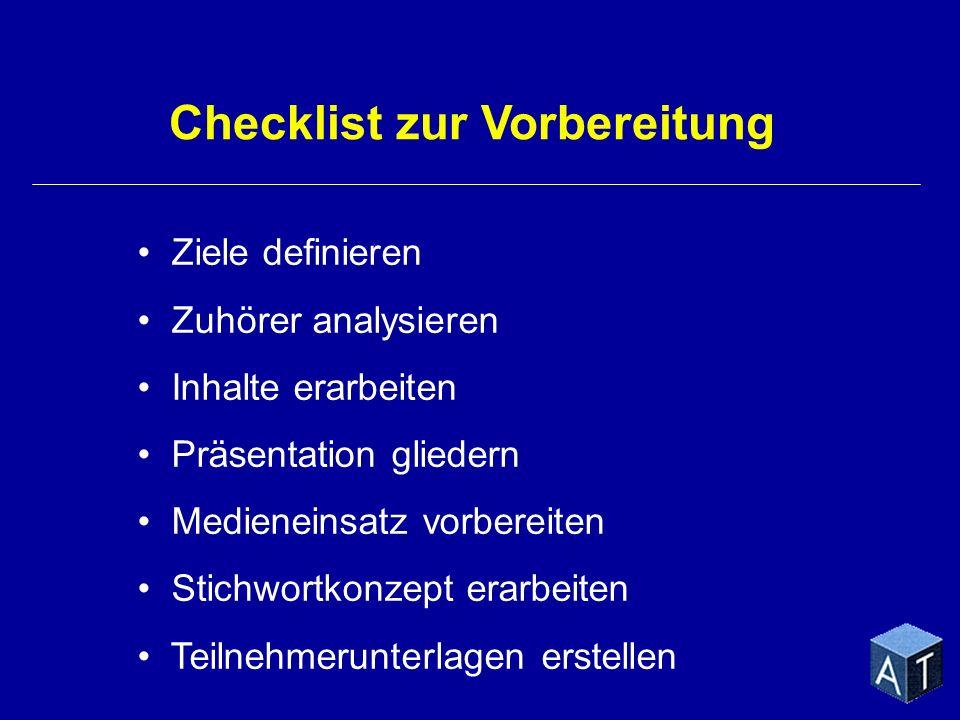 Checklist zur Vorbereitung