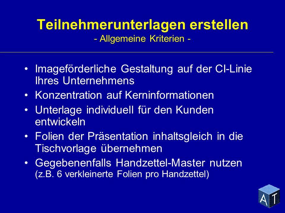 Teilnehmerunterlagen erstellen - Allgemeine Kriterien -
