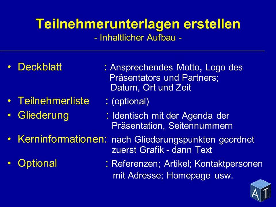 Teilnehmerunterlagen erstellen - Inhaltlicher Aufbau -