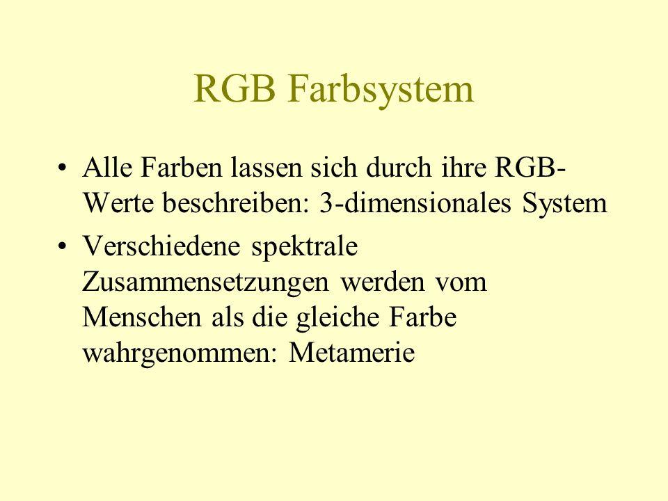 RGB Farbsystem Alle Farben lassen sich durch ihre RGB-Werte beschreiben: 3-dimensionales System.