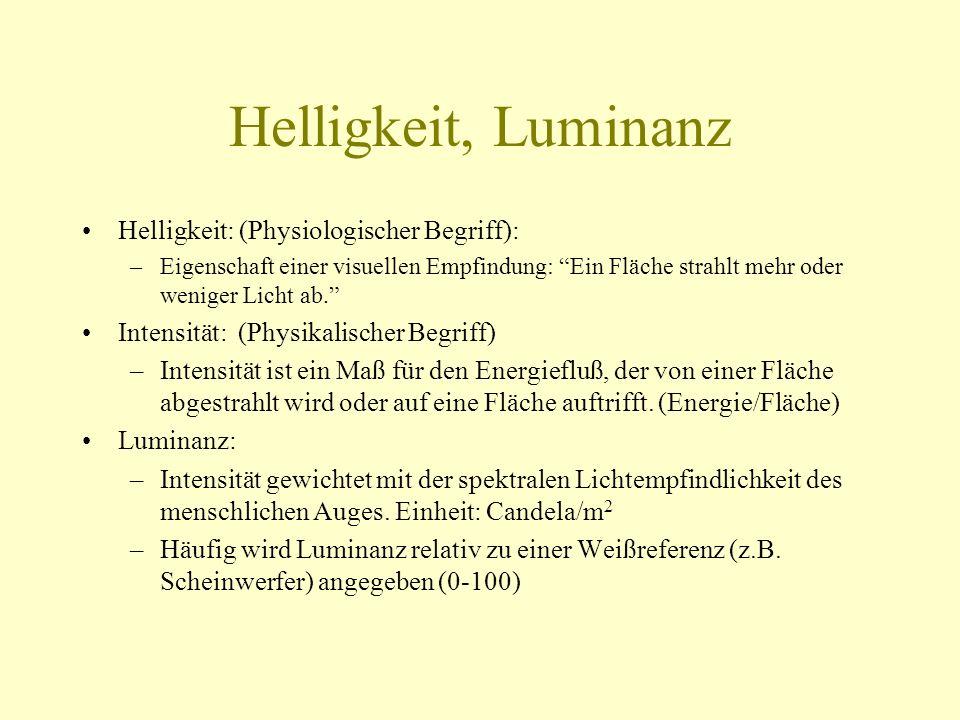 Helligkeit, Luminanz Helligkeit: (Physiologischer Begriff):
