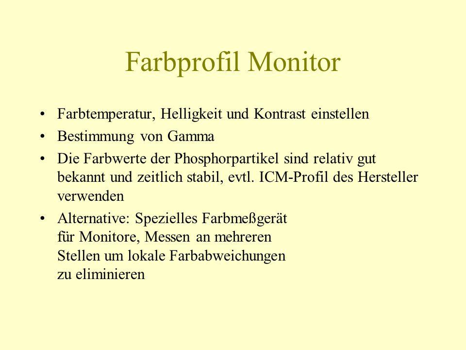 Farbprofil Monitor Farbtemperatur, Helligkeit und Kontrast einstellen