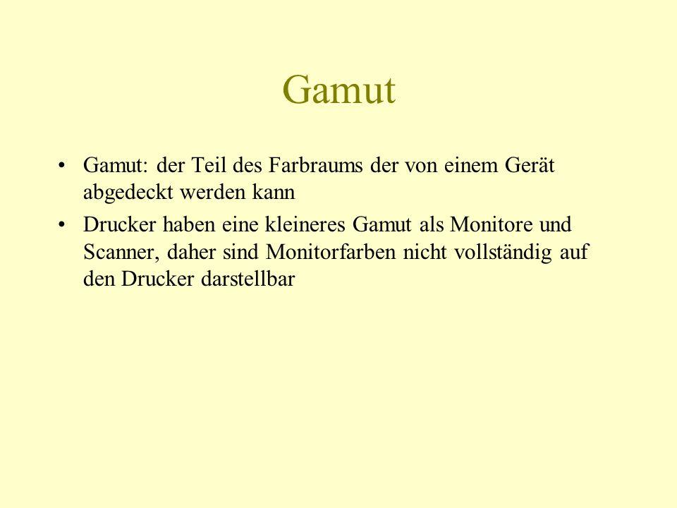 Gamut Gamut: der Teil des Farbraums der von einem Gerät abgedeckt werden kann.