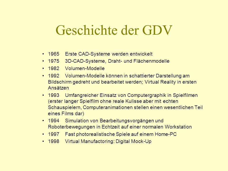 Geschichte der GDV 1965 Erste CAD-Systeme werden entwickelt