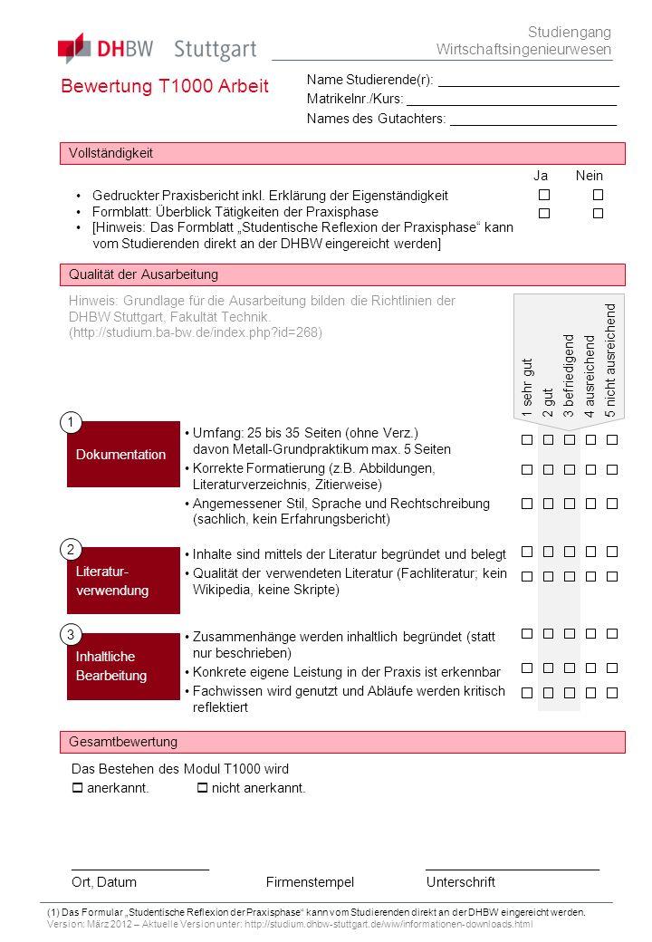Bewertung T1000 Arbeit Studiengang Wirtschaftsingenieurwesen