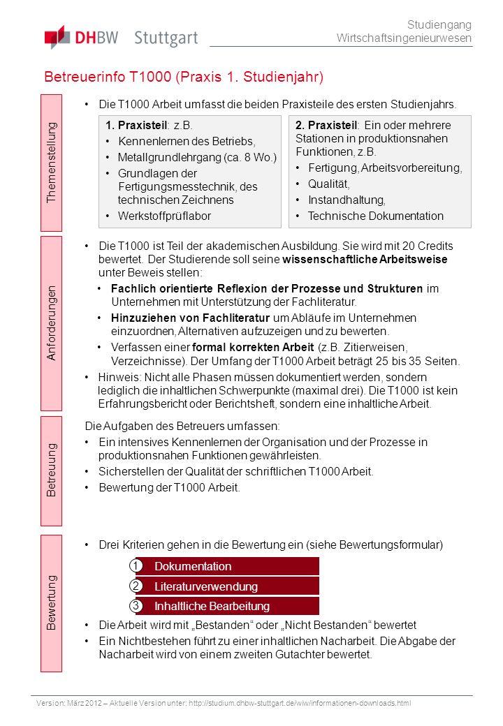 Betreuerinfo T1000 (Praxis 1. Studienjahr)