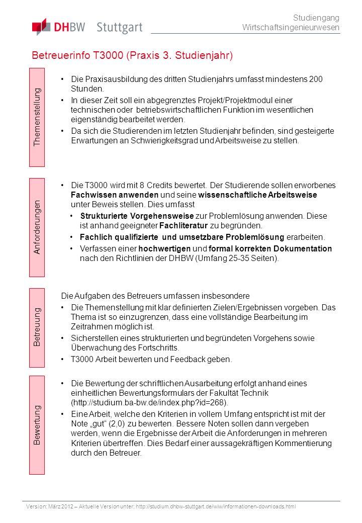 Betreuerinfo T3000 (Praxis 3. Studienjahr)