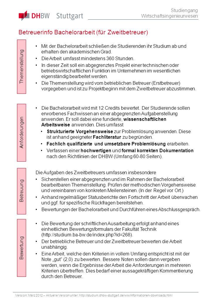 Betreuerinfo Bachelorarbeit (für Zweitbetreuer)