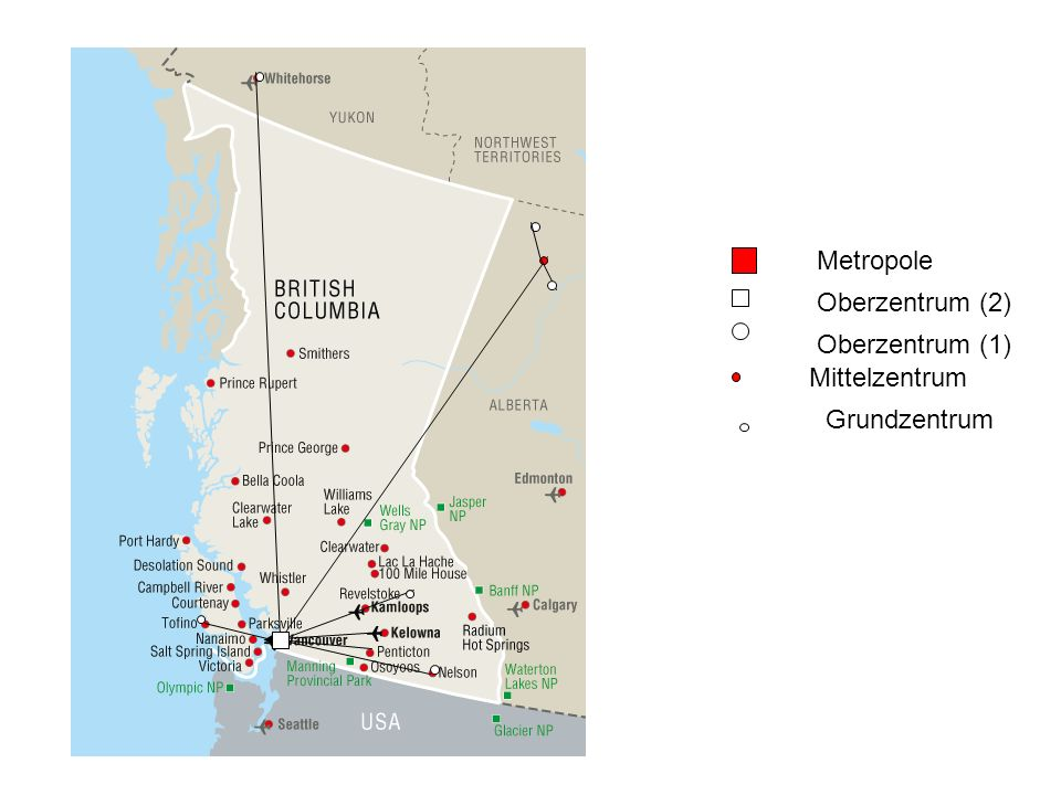Metropole Oberzentrum (2) Oberzentrum (1) Mittelzentrum Grundzentrum