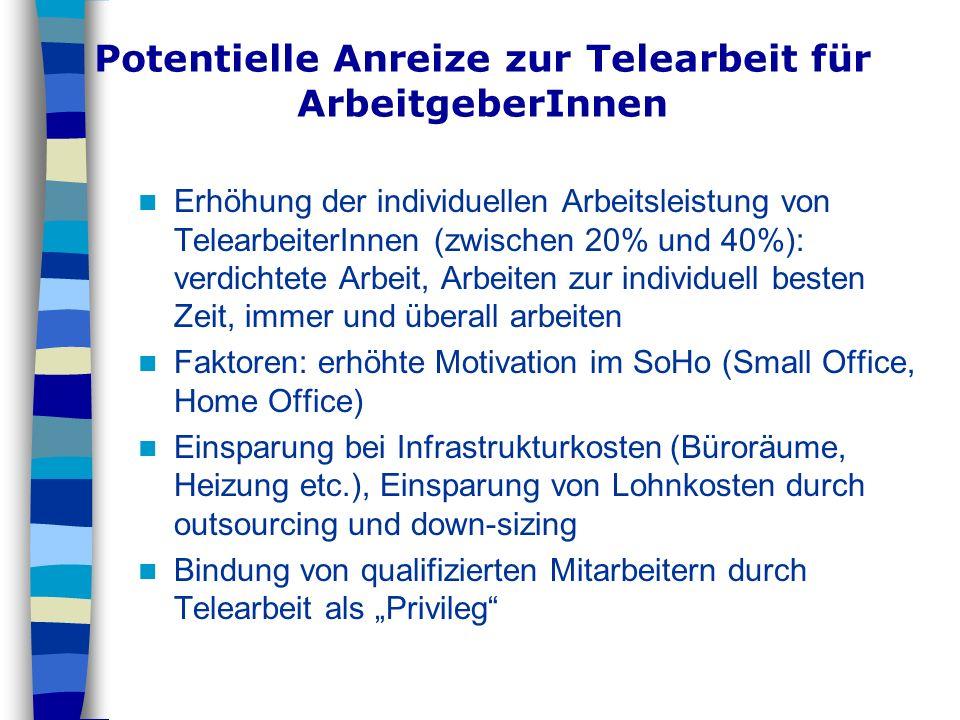 Potentielle Anreize zur Telearbeit für ArbeitgeberInnen