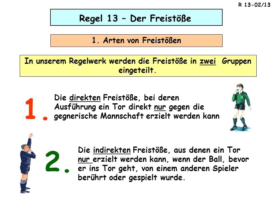 In unserem Regelwerk werden die Freistöße in zwei Gruppen eingeteilt.