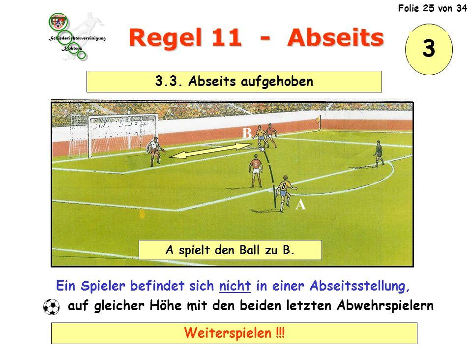 Regel 11 - Abseits 3 B A 3.3. Abseits aufgehoben