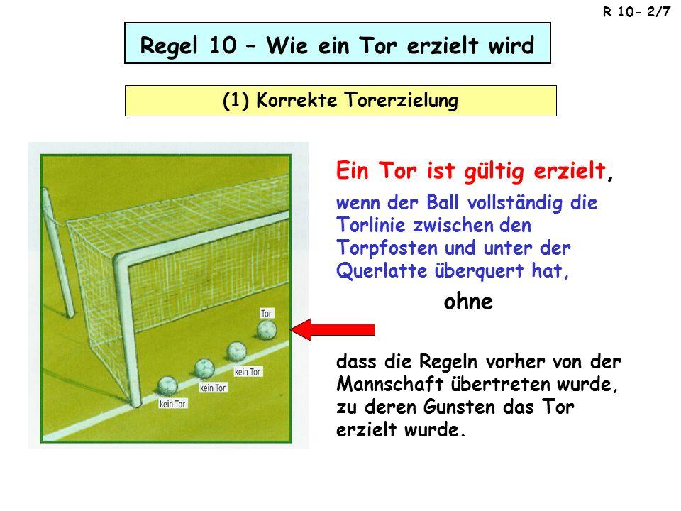 Regel 10 – Wie ein Tor erzielt wird (1) Korrekte Torerzielung