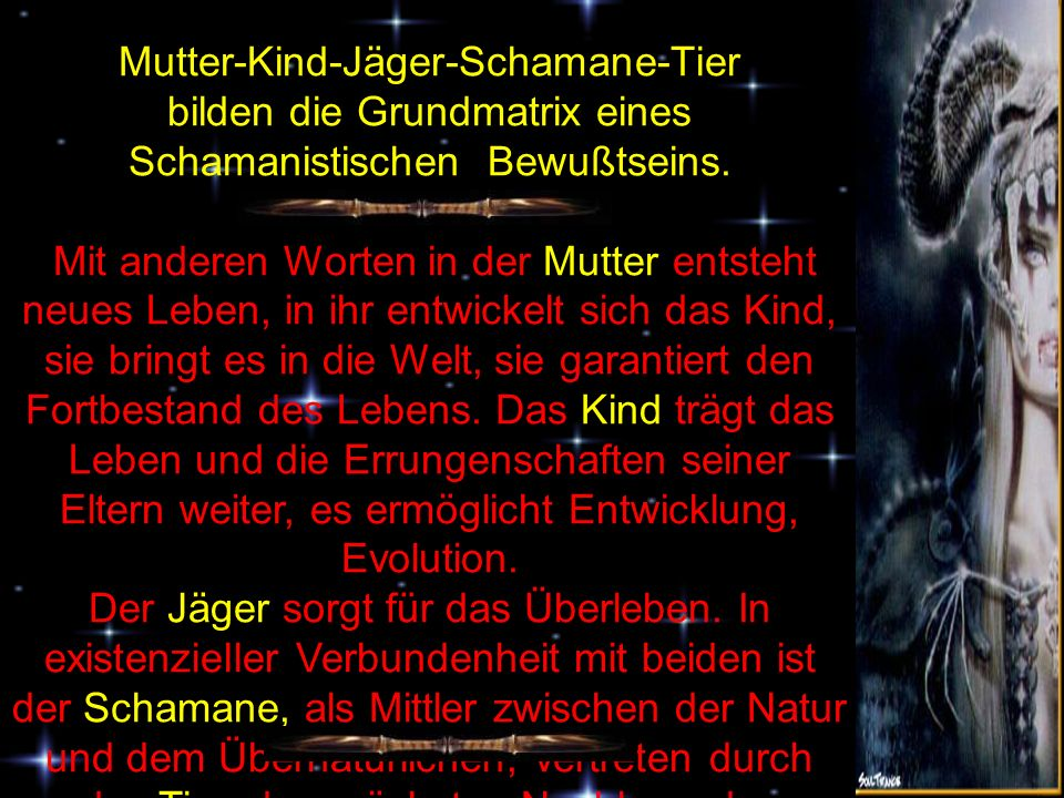 Mutter-Kind-Jäger-Schamane-Tier