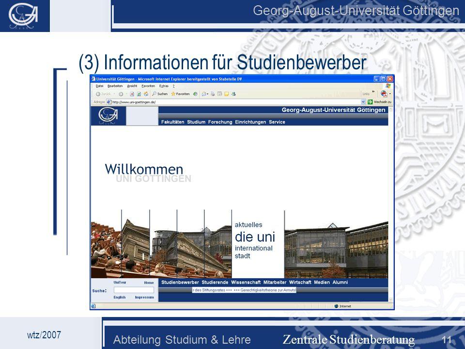 (3) Informationen für Studienbewerber