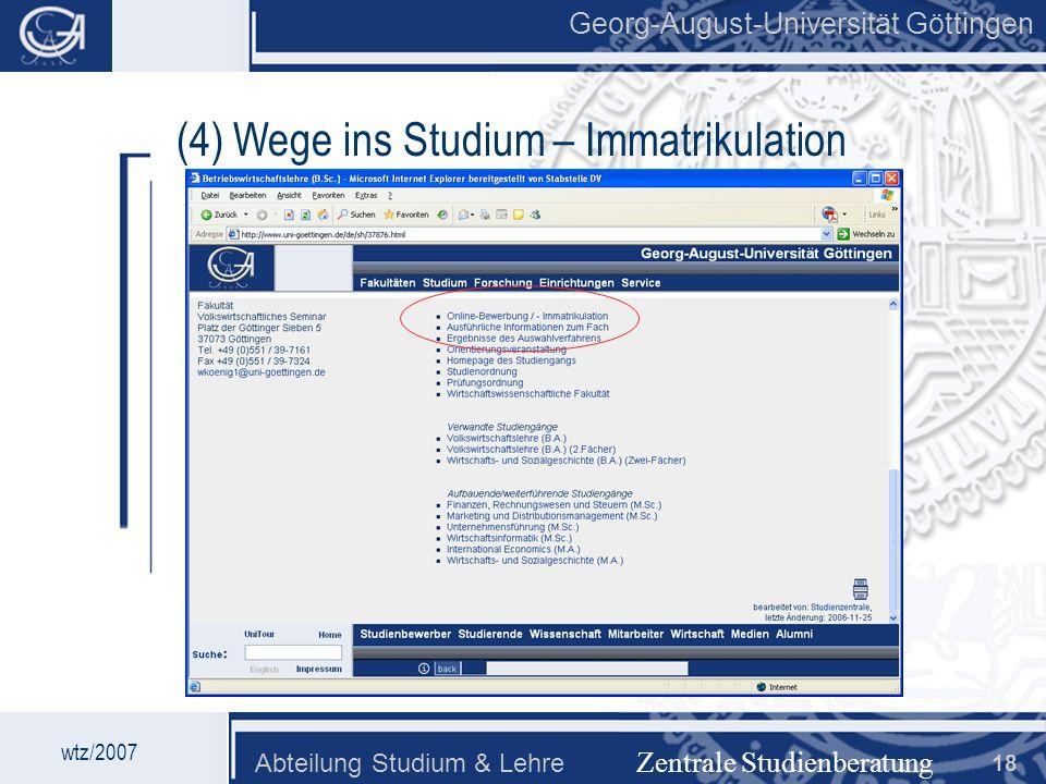 (4) Wege ins Studium – Immatrikulation